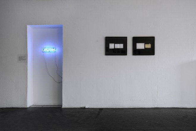Installation view of Every Artist Should Have a Neon Work and 2 envelopes diptych, 5533, Istanbul, 2013.