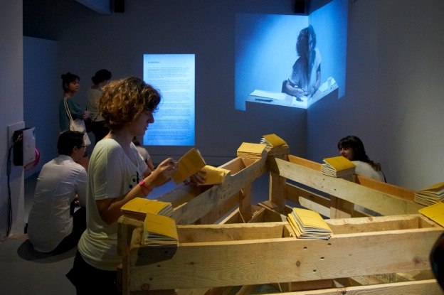 Intervention to the artist's book Production during the opening at PiST///, Istanbul, 2012